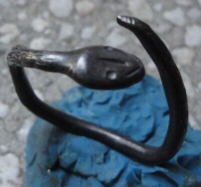 Ancient Roman Silver ring Snake Senatorial fine artifact Museum quality