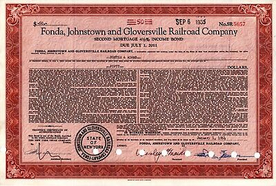 Fonda Johnstown & Gloversville Railroad Company 1954 Mortgage Bond Certificate