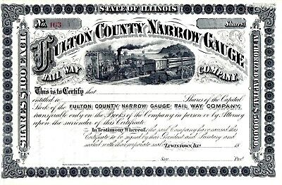Fulton County Narrow Gauge Rail Way Company of Illinois 18?? Stock Certificate