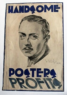 William Powell portrait/spoof poster, c1938 original vintage drawing