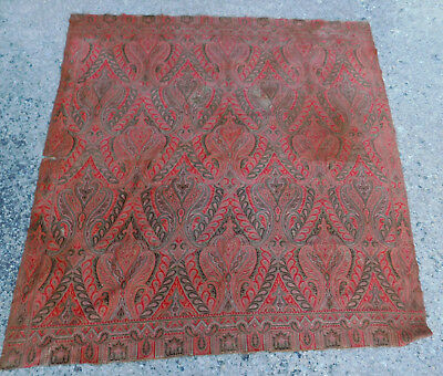 Antique Wool Jacquard Paisley Shawl 19th Century Colorful Table Cloth Fabric OLD