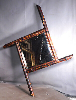 Antique Victorian Eastlake BAMBOO Aesthetic Japonisme Square Bevel Mirror FRame