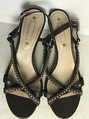 dc9141ce0a8b CELINE Brown Leather Open Toe Strappy Sling Back Heel Sandals Size EU 38 ~US  7.5