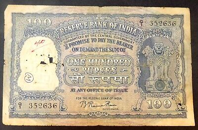 100 Rs. REPUBLIC INDIA 1ST ISSUE BACK 2 ELEPHANT SIGN. B RAMARAO RARE NOTE-INDIA