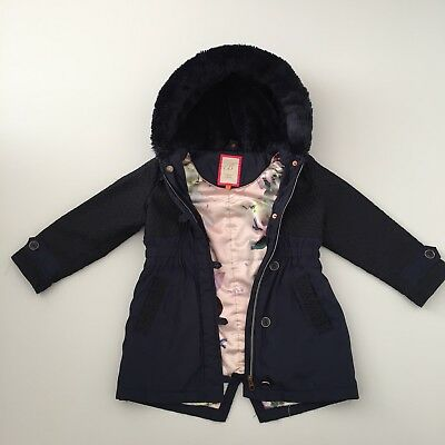 Ted Baker Navy Coat Parka Age 5-6 Years Girls