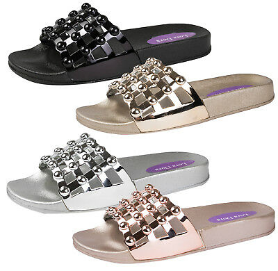 Womens Flat Studded Cage Diamante Summer Sliders Sandals Shoes Ladies Size