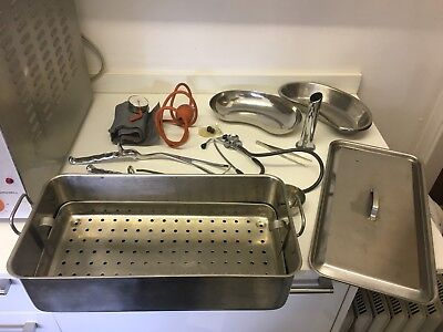 Vintage Antique Medical Box Equiptment Maternity Doctor Nurse Stainless Steel
