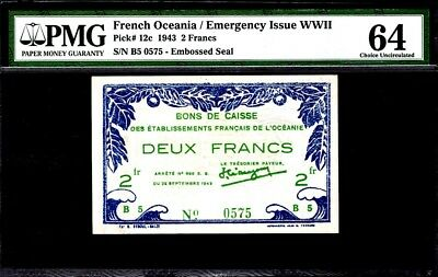 French Oceania 2 Francs, 1943, P-12c PMG64 UNC Uncirculated