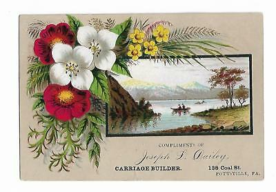 Old Trade Card Joseph Dailey Carriage Builder Pottsville PA Lake Canoe Flowers