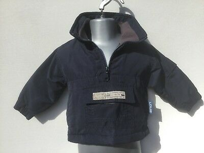 Louie Baby Boys Navy Blue Cagoule Half Zip Jacket - Age 6-9 Months