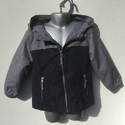 Boys Blue Summer Weight Fully Lined Showerproof Coat Jacket - Age 2-3 Years