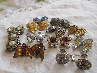 Lovely Mixed Collection of Art Deco Clip On Earrings & Screw Back Earrings