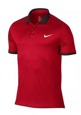 Nike Men's Size M Advantage Solid Tennis Polo Shirt  728947 658 Red/Navy