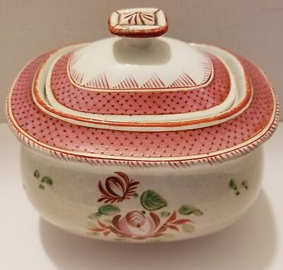 Antique English Tea Rose pearlware covered sugarbowl