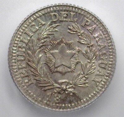PARAGUAY 18xx SILVER 20 CENTS ON ARGENTINA 20c -PATTERN DIE- ICG MS65 KM#27