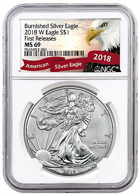 2018-W Burnished American Silver Eagle NGC MS69 FR Excl Eagle Label SKU54365