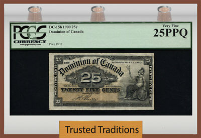 TT DC-15b 1900 DONINION OF CANADA 25 CENTS PCGS 25 PPQ VERY FINE!