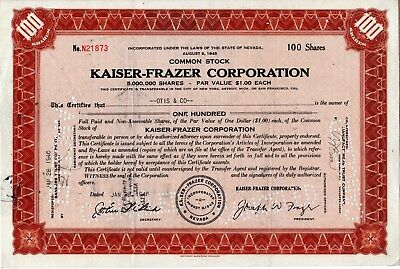 Kaiser Frazer Corporation - 1946 Stock Certificate - Brown - ink smudging
