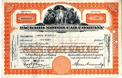 Packard Motor Company 1936 Stock Certificate - lower right corner - missing