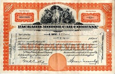 Packard Motor Company 1936 Stock Certificate - heavy staining