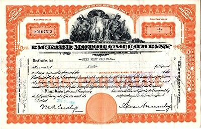 Packard Motor Company 1930 Stock Certificate -seam split with tape on reverse