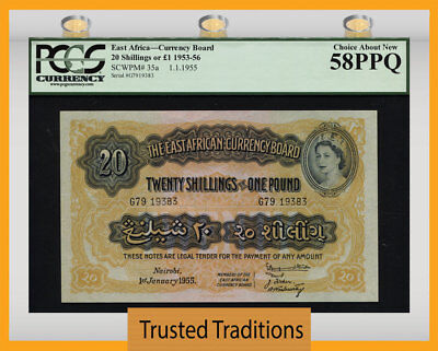TT PK 35a 1953-56 EAST AFRICA 20 SHILLINGS PCGS 58 PPQ CHOICE ABOUT NEW!