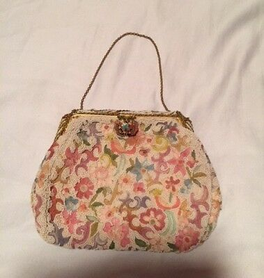 Vintage 40s White Beaded Evening Bag Embroidered with Colorful Flowers