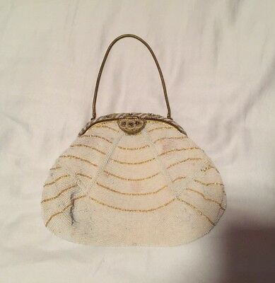 Vintage 40s White Beaded Evening Bag with Gold Stripes