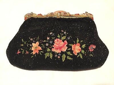 Vintage 40s Beaded Handbag with Embroidered Roses and Enameled Mirror Clasp