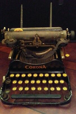 Vintage 1910 Corona Folding 3 Bank Typewriter Rare Incorporated Version