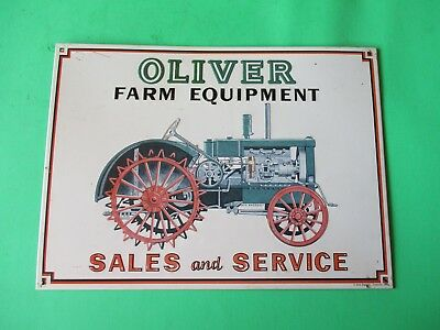 vtg 1991 AAA Sign Co. Oliver Farm Equipment Sales & Service Metal Tractor Sign
