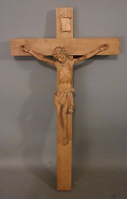 Vintage JESUS & CROSS Old RELIGIOUS FOLK ART Wood CARVED ICON Christian CRUCIFIX