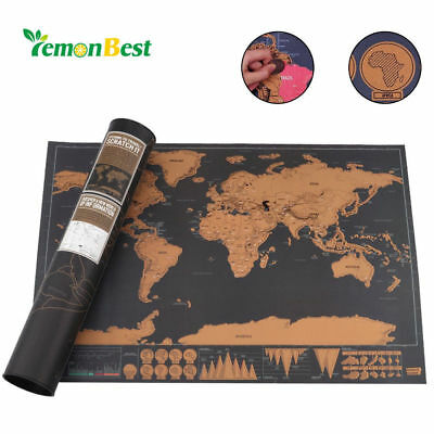 NEW Scratch Off Map World Deluxe Large Personalized Travel Poster Travel Gift