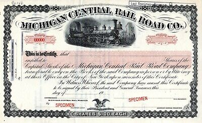Michigan Central Rail Road Company ca 1900 SPECIMEN  Stock Certificate