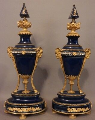 (2) Antique GILT Figural BRASS Ormolu RAMS HEAD & HOOF Old PORCELAIN Mantel URNS