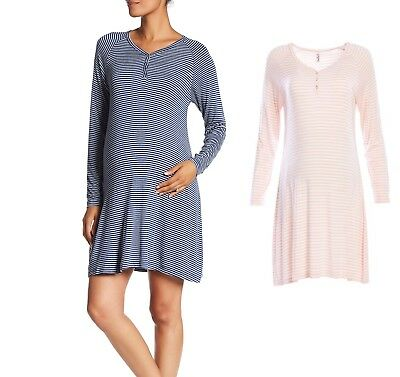 Lamaze Maternity Nursing Long Sleeve Striped Sleep Shirt Dress Pick Size & Color