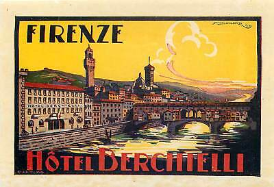 Firenze Florence Italy Hotel Berchielli Beautiful Old Art Baggage Luggage Label