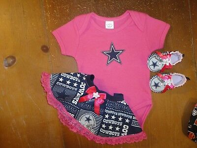 Dallas Cowboys Baby Girl 3 Piece Tailgating Outfit Baby Girl Tailgating 3 to 6 M