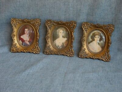 """3 Cameo Creation Set Vintage Convex Glass Picture Frame Gold Frame 5 """"x 4 1/2"""""""