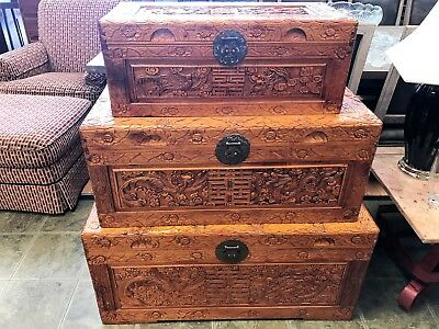 Set of 3 Asian Chinese Heavily Carved Camphor Wood Boxes, Nesting Boxes