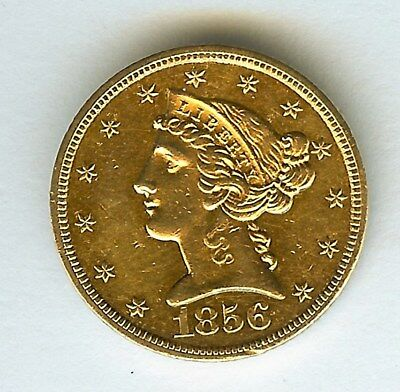 1856-S Liberty Head $5 Gold Half Eagle  Uncirculated  Very Rare This Nice!