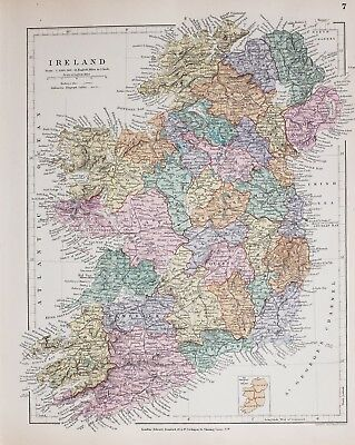 Stanford's 1889 Hand Coloured Map Ireland Galway Clare Mayo Tyrone Dublin