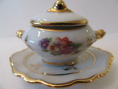 Limoges Miniature Hand Painted Covered Tureen and Platter Pink Flowers (Mint)