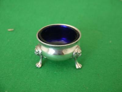 ATTRACTIVE ANTIQUE SILVER PLATED SALT CELLAR WITH BLUE Glass liner LION FEET
