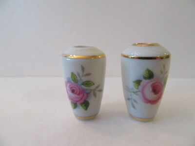 Pair of Limoges Miniature Hand Painted Vases with Floral Pattern Signed (Mint)