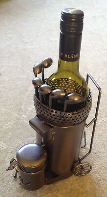 Novelty Golf caddy bag and dog metal wine bottle holder