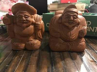 Pair Of Wood Carved Vintage Asian Buddha? Figures