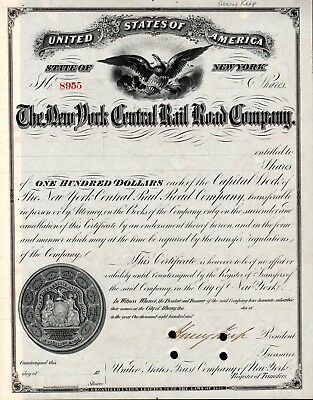 New York Central 1920's signed by Henry Keep late 1800's Stock Certificate