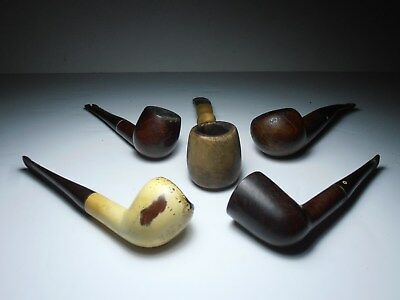 Lot of 5 vintage briar estate tobacco pipes; used multiple makers