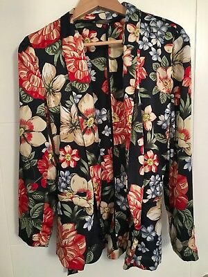 Zara Sold Out Bnwt Floral Wrap Belted Blazer Jacket Size L